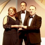 Michael Barrett being presented with his national Q Mark Hero award by Minister Leo Varadkar TD and Ms Irene Collins EIQA CEO.